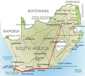 Carte Garden Route Afrique Du Sud.Singita Incentive Travel Afrique Du Sud Programmes