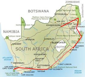 Carte Route Des Jardins Afrique Du Sud.Singita Incentive Travel Afrique Du Sud Programmes